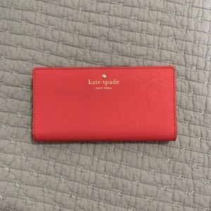 NWT Bright Coral Kate Spade Card Organizer/Wallet